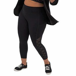 Torrid Black Mesh Lattice Crop Active Leggings